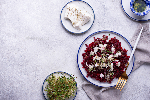 Health salad with beetroot and feta - Stock Photo - Images