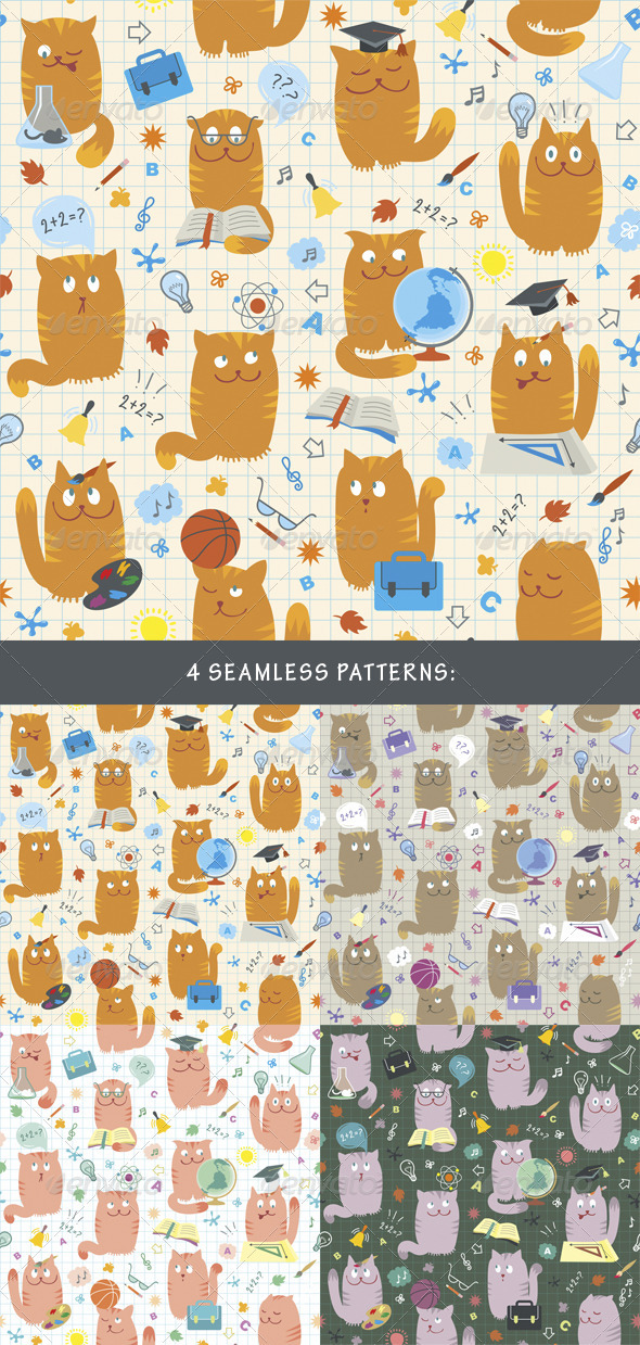 Seamless Patterns - Cats Studing School Subjects - Backgrounds Decorative