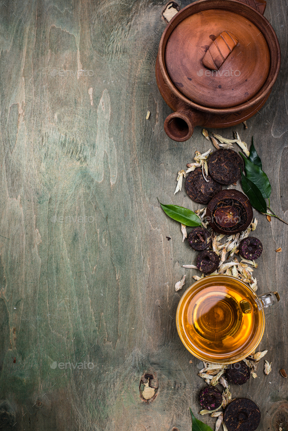 Different pressed Chinese pu-erh tea - Stock Photo - Images