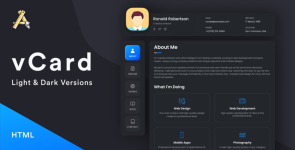 vCard3 – HTML 5 Resume / CV / vCard / Portfolio