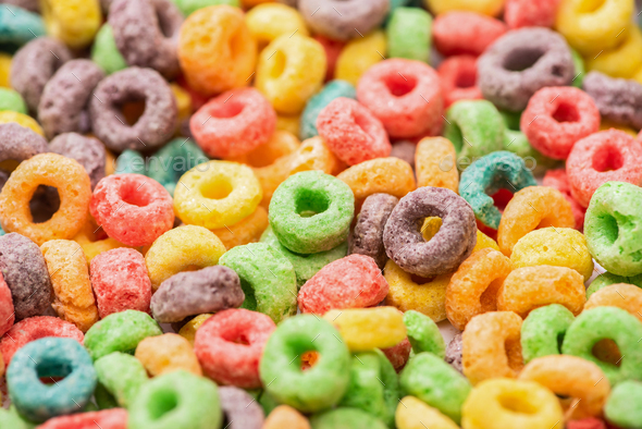 Close up View of Bright Multicolored Breakfast Cereal - Stock Photo - Images