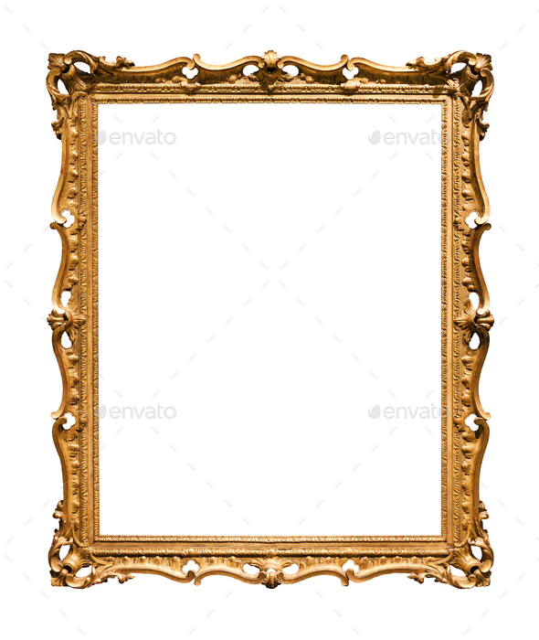 vertical narrow baroque wooden painting frame - Stock Photo - Images