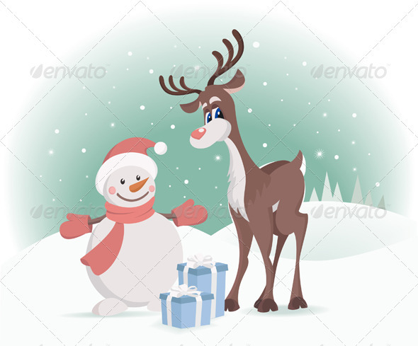 Rudolph Reindeer With Snowman - New Year Seasons/Holidays