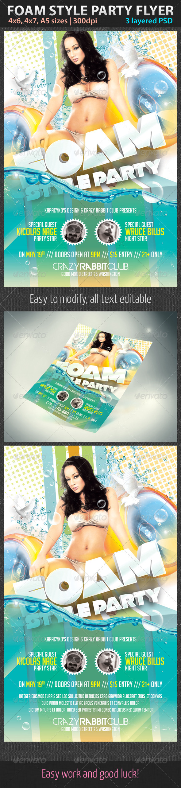 Foam Style Party Flyer - Clubs & Parties Events