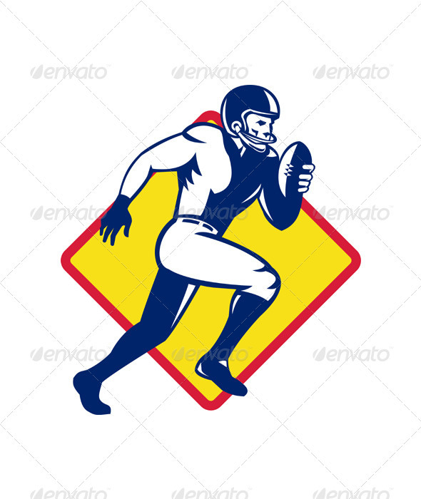 American Quarterback Football Player Running - Sports/Activity Conceptual