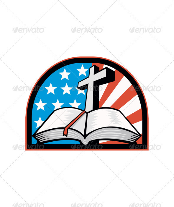 Bible With Cross American Stars Stripes - Religion Conceptual
