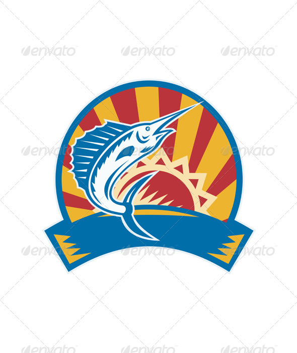 Sailfish Jumping Sunburst Woodcut Retro - Animals Characters