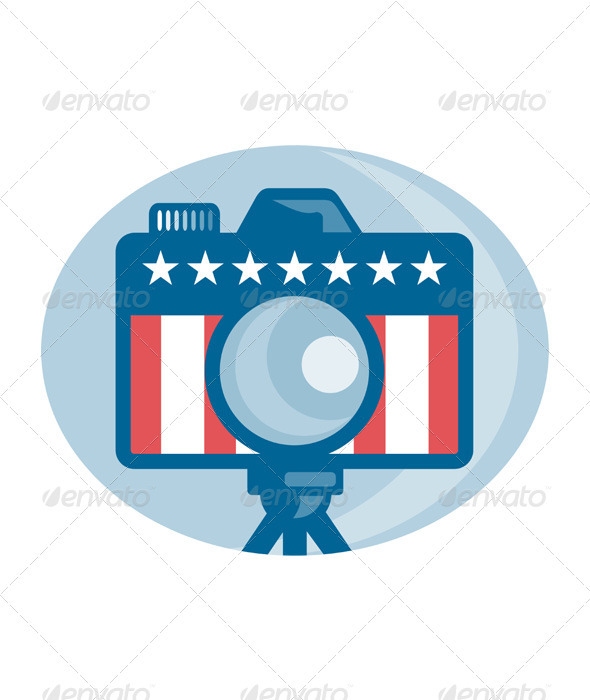 American DSLR Camera Stars and Stripes Flag - Technology Conceptual