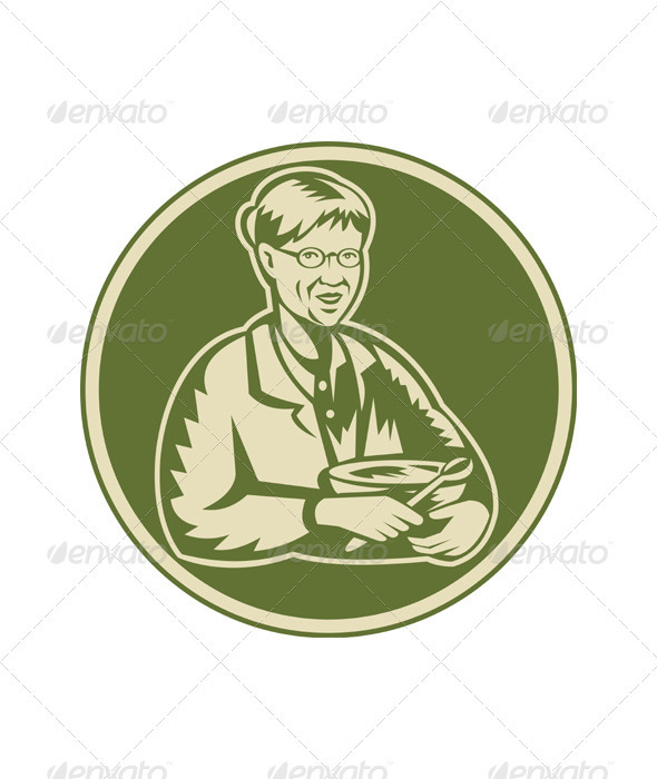 Granny Grandmother Cooking Mixing Bowl - People Characters