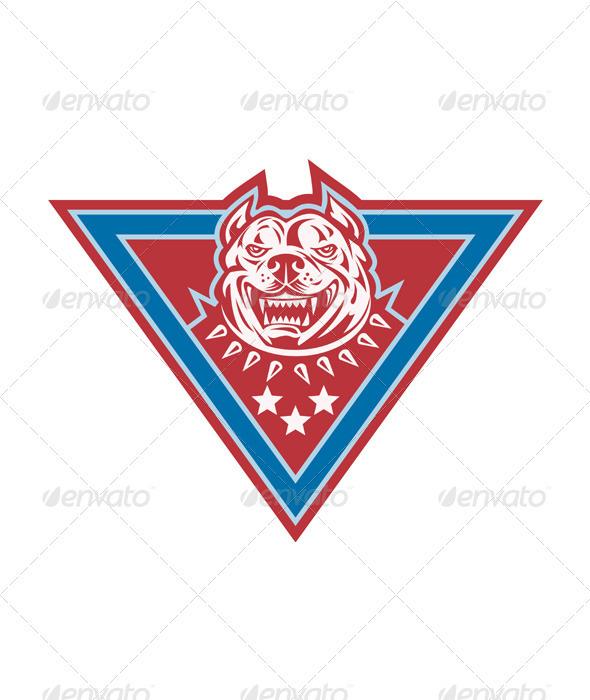 Pitbull Mongrel Dog Head Retro - Animals Characters