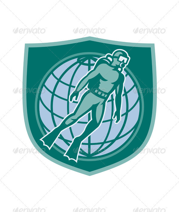 Scuba Diver Diving Dive World Shield - Industries Business