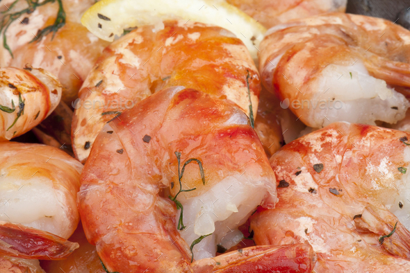 Cooking shrimp on a pan. Close up view. - Stock Photo - Images
