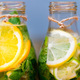 Homemade lemonade with fruit and mint. Closeup - PhotoDune Item for Sale