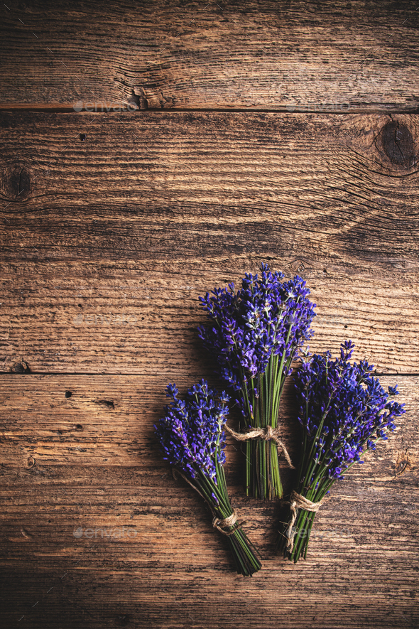 Flat lay of fresh lavender - Stock Photo - Images