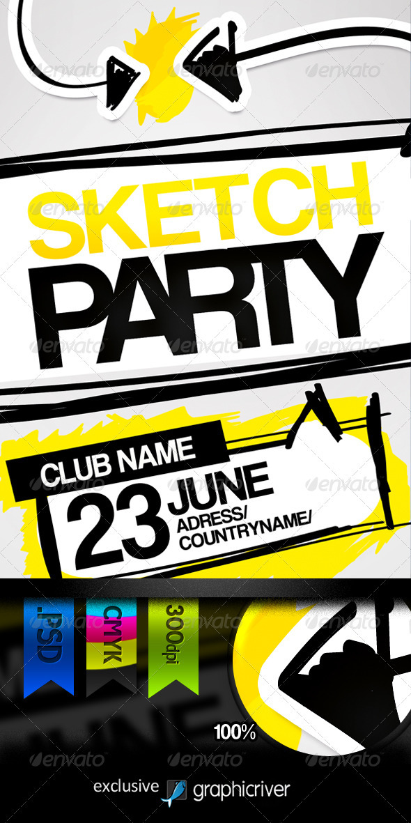Sketch Party Flyer - Clubs & Parties Events