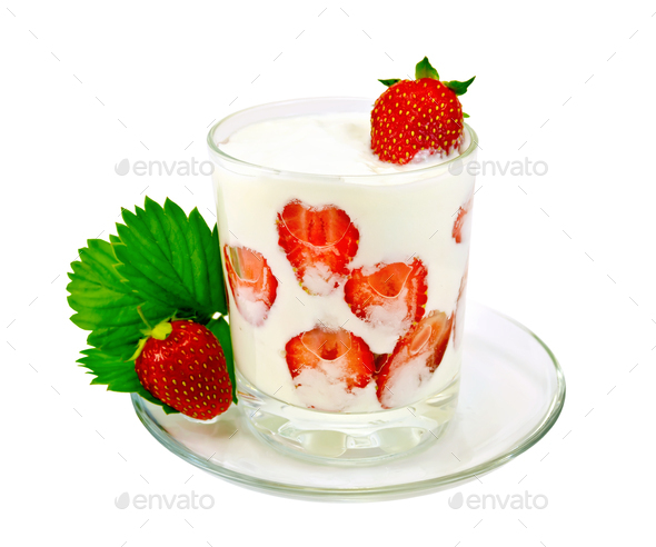 Yogurt thick with strawberries in glass on saucer - Stock Photo - Images