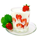 Yogurt thick with strawberries in glass on saucer - PhotoDune Item for Sale