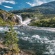 Kinsarvik, Hordaland, Norway. Waterfall Nykkjesoyfossen In Hardangervidda Mountain Plateau. Summer - PhotoDune Item for Sale