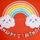 Colorful happy birthday decoration. Rainbow and clouds children birthday decoration - PhotoDune Item for Sale