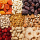 Flat lay view at assorted dried fruits and nuts. Healthy vegetarian food concept - PhotoDune Item for Sale
