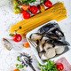 Ingredients for cooking Spaghetti with seafood. - PhotoDune Item for Sale