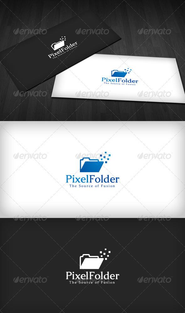 Pixel Folder Logo - Vector Abstract
