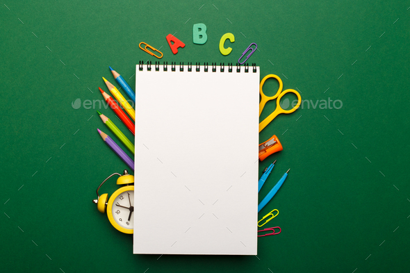 Colorful stationary school supplies - Stock Photo - Images