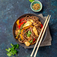 Japanese dish buckwheat soba noodles with chicken and vegetables carrot, bell pepper and green beans - PhotoDune Item for Sale