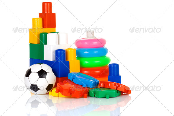 colorful plastic toys - Stock Photo - Images