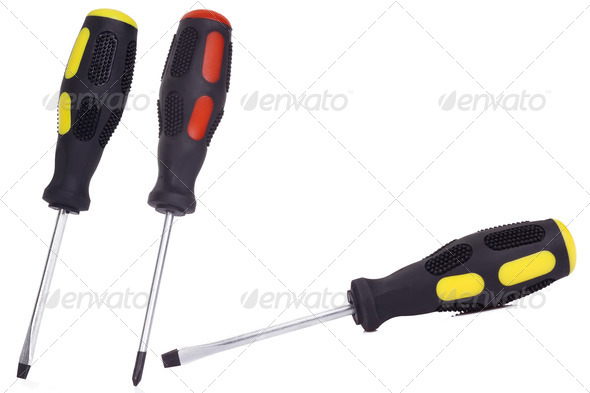 three isolated screwdrivers - Stock Photo - Images