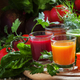 Set of vegetable juice in glasses: beetroot, tomato, spinach, carrots, herbs - PhotoDune Item for Sale