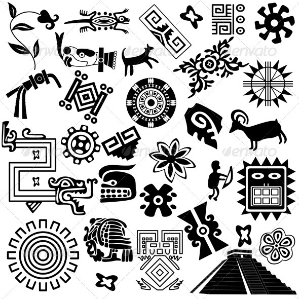 Ancient American design elements - Backgrounds Decorative