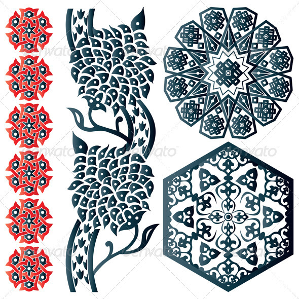 Blue and red Islamic design element - Decorative Symbols Decorative