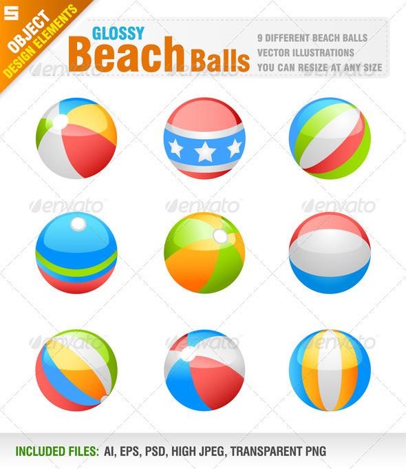 9 Beach Balls - Objects Vectors