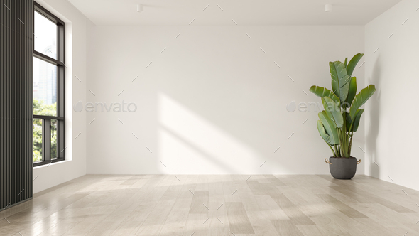Interior of empty modern living room 3D rendering - Stock Photo - Images