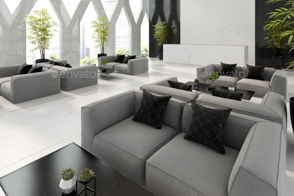 Interior of hotel and spa reception 3D illustration - Stock Photo - Images