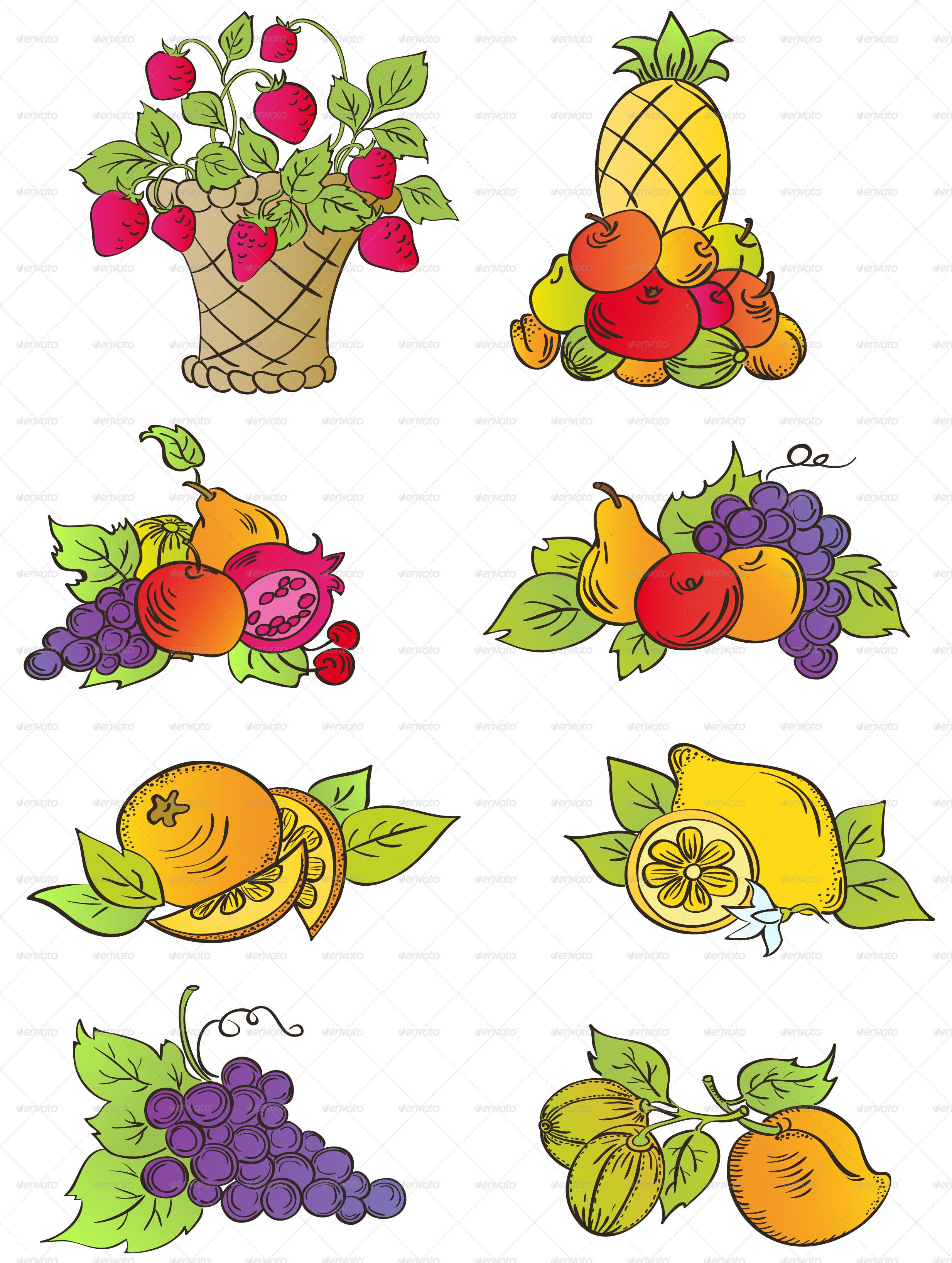 Vintage Fruits Set - Food Objects