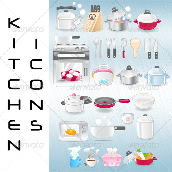 Vector Kitchen Utensils Icons - Objects Vectors