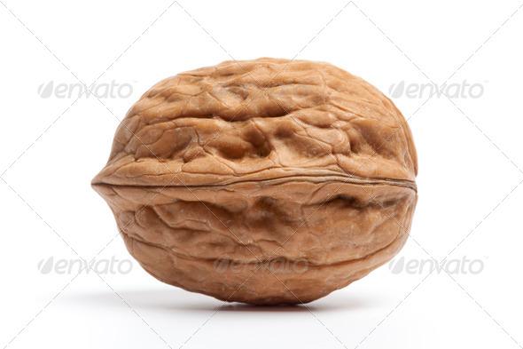 Whole single fresh Walnut - Stock Photo - Images