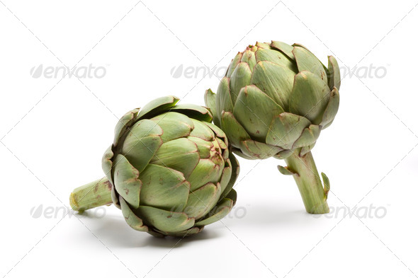 Two whole fresh artichokes - Stock Photo - Images