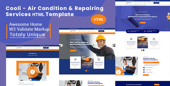 Extraordinary Cooli | Air Conditioning & Repiring Services Html Template