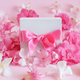 White gift box with a bow between pink flowers - PhotoDune Item for Sale