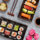 Sushi Set nigiri and sushi rolls on rectangular plates - PhotoDune Item for Sale