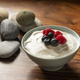 Yogurt with Fresh Raspberries and Blueberries in a Bowl on a Wooden Table - PhotoDune Item for Sale