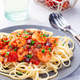 Linguine Puttanesca pasta with shrimps in spicy tomato basil sauce - PhotoDune Item for Sale