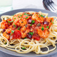 Linguine Puttanesca pasta with shrimps in spicy tomato basil sauce, horizontal - PhotoDune Item for Sale