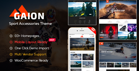 Gaion - Sport Accessories Shop WordPress WooCommerce Theme (Mobile Layout Ready)