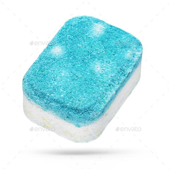 Turquoise dishwasher detergent tablet isolated on white background - Stock Photo - Images