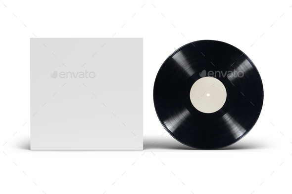 Vinyl LP record with cardboard cover on white background. - Stock Photo - Images
