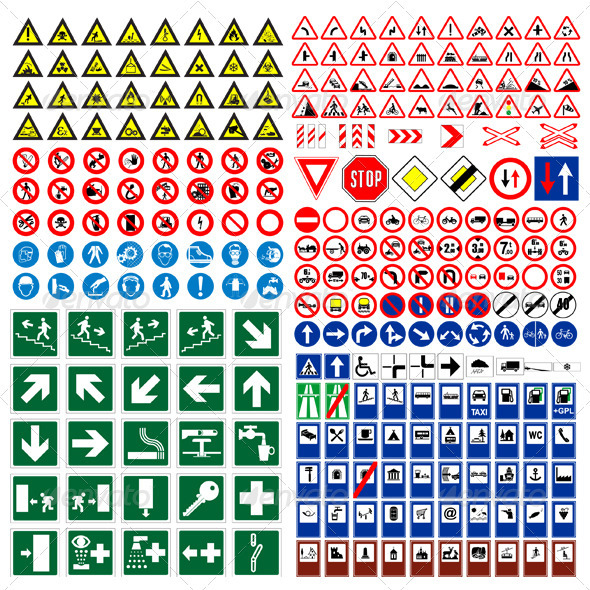 Vector Traffic Roads Signs Mega Pack - Objects Vectors